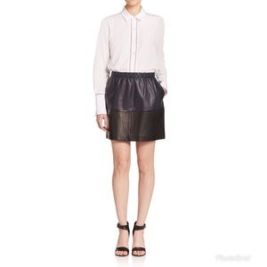 Vince Skirts - Vince Colorblock Leather A-Line Mini Skirt